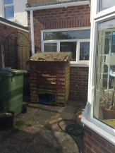 This little hut was hidden behind the shed, as we will soon have a log burner I thought I would revive it as a log store! It looks a lot different now!!