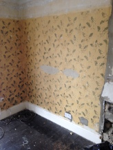 The lounge was stripped back to reveal a painted and stenciled wall. A lovely golden yellow.